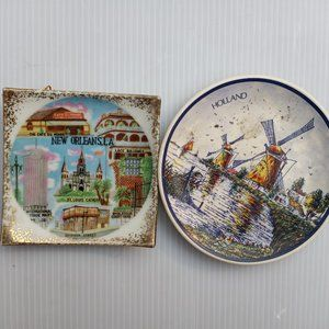 Two Vintage Mini  Trinket/Plates /Wall Art.